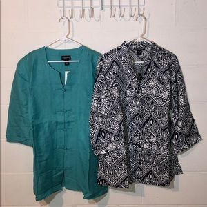 Lot of 2 Linen NWT Button Down Shirts Size 1X